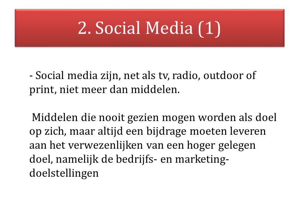 2. Social Media (1) - Social media zijn, net als tv, radio, outdoor of print, niet meer dan middelen. Middelen die nooit gezien mogen worden als doel