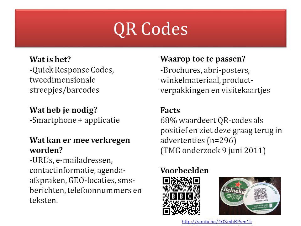 QR Codes Wat is het? -Quick Response Codes, tweedimensionale streepjes/barcodes Wat heb je nodig? -Smartphone + applicatie Wat kan er mee verkregen wo