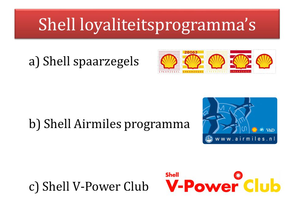 Shell loyaliteitsprogramma's a) Shell spaarzegels b) Shell Airmiles programma c) Shell V-Power Club