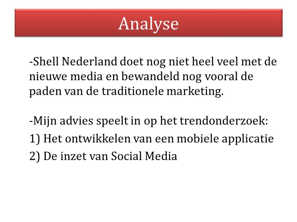 Analyse -Shell Nederland doet nog niet heel veel met de nieuwe media en bewandeld nog vooral de paden van de traditionele marketing. -Mijn advies spee