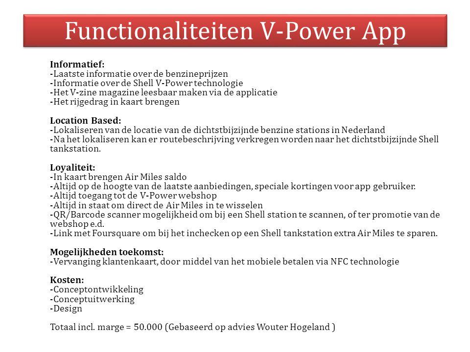 Functionaliteiten V-Power App Informatief: -Laatste informatie over de benzineprijzen -Informatie over de Shell V-Power technologie -Het V-zine magazi