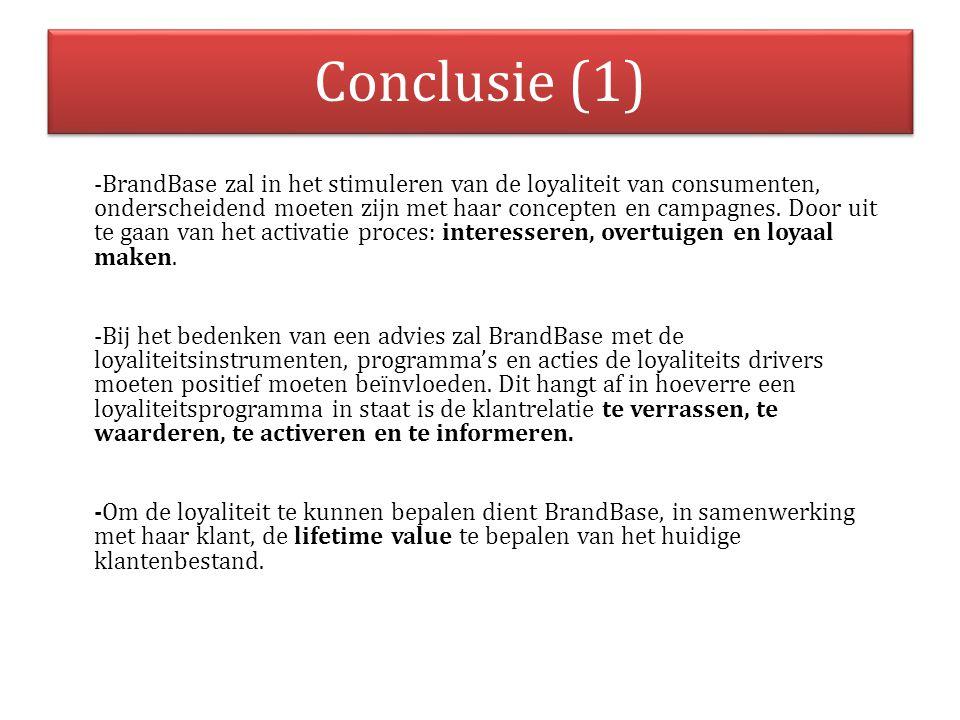 Conclusie (1) -BrandBase zal in het stimuleren van de loyaliteit van consumenten, onderscheidend moeten zijn met haar concepten en campagnes. Door uit
