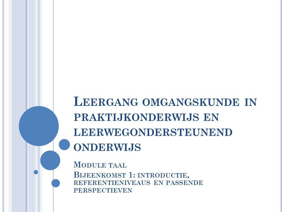 L EERGANG OMGANGSKUNDE IN PRAKTIJKONDERWIJS EN LEERWEGONDERSTEUNEND ONDERWIJS M ODULE TAAL B IJEENKOMST 1: INTRODUCTIE, REFERENTIENIVEAUS EN PASSENDE