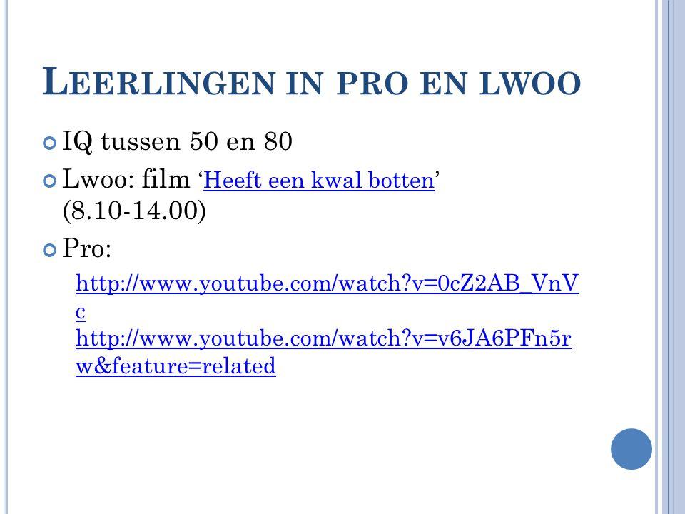 L EERLINGEN IN PRO EN LWOO IQ tussen 50 en 80 Lwoo: film 'Heeft een kwal botten' (8.10-14.00)Heeft een kwal botten Pro: http://www.youtube.com/watch?v