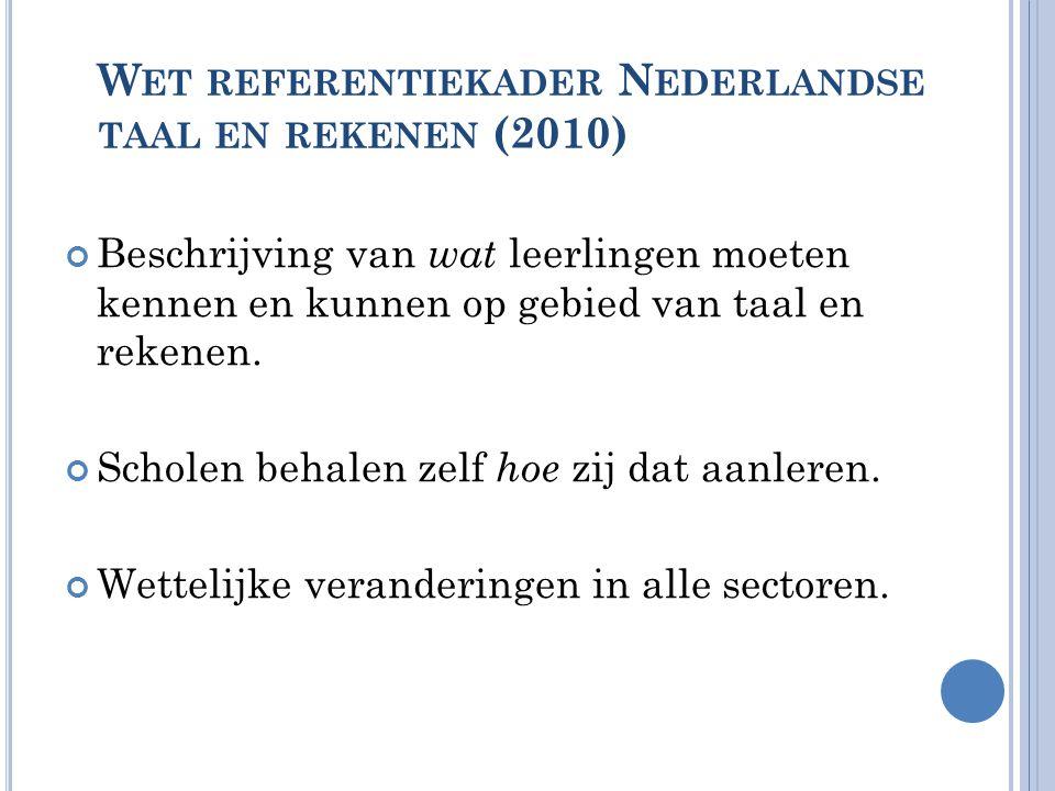W ET REFERENTIEKADER N EDERLANDSE TAAL EN REKENEN (2010) Beschrijving van wat leerlingen moeten kennen en kunnen op gebied van taal en rekenen. Schole