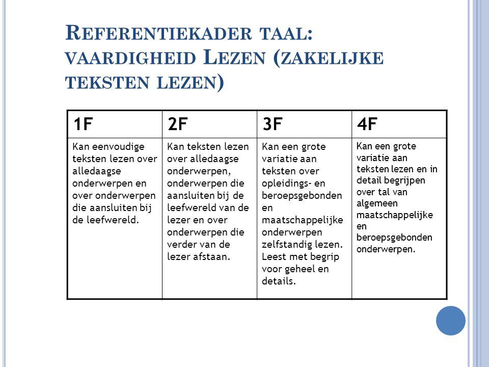 R EFERENTIEKADER TAAL : VAARDIGHEID L EZEN ( ZAKELIJKE TEKSTEN LEZEN ) 1F2F3F4F Kan eenvoudige teksten lezen over alledaagse onderwerpen en over onder