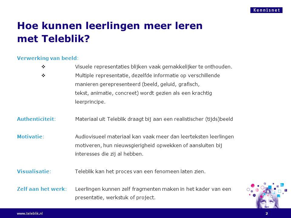 Hoe kunnen leerlingen meer leren met Teleblik.