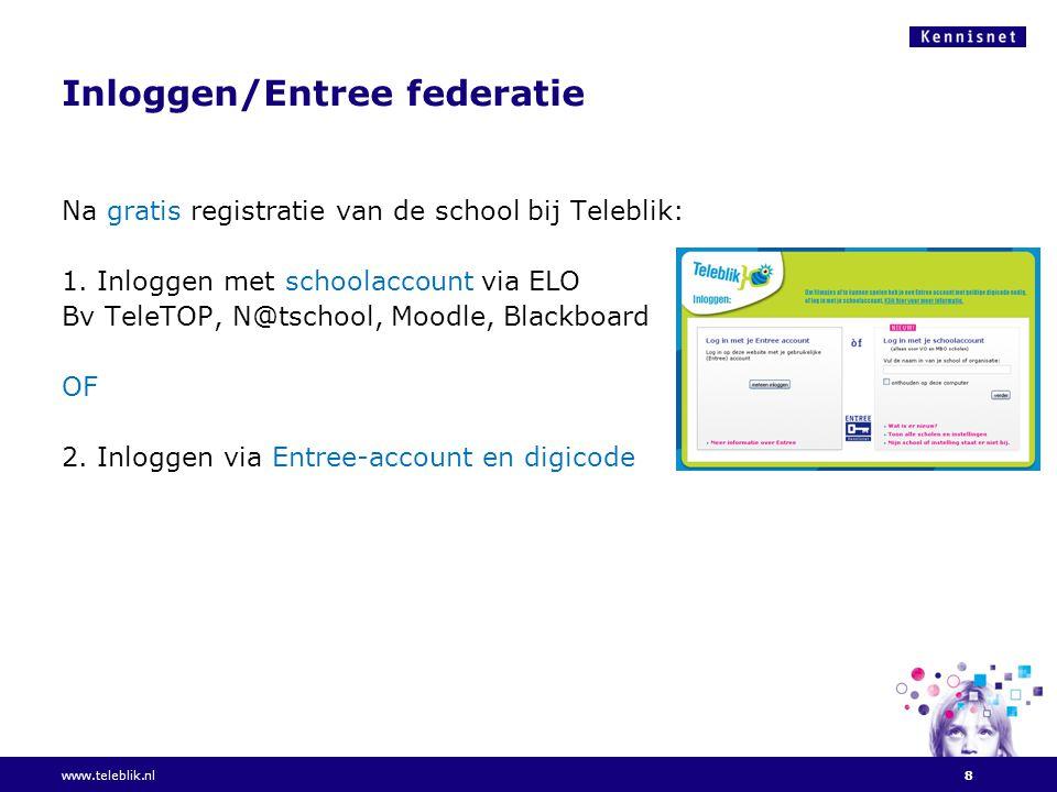 Inloggen/Entree federatie Na gratis registratie van de school bij Teleblik: 1.