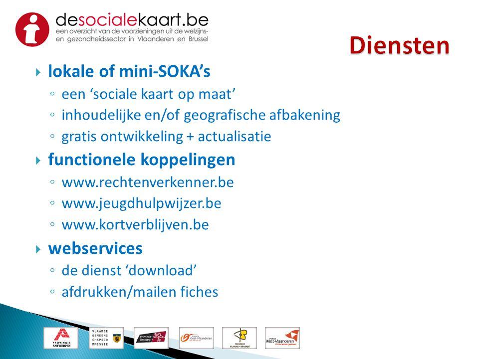  lokale of mini-SOKA's ◦ een 'sociale kaart op maat' ◦ inhoudelijke en/of geografische afbakening ◦ gratis ontwikkeling + actualisatie  functionele