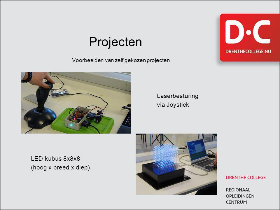 Projecten Voorbeelden van zelf gekozen projecten Laserbesturing via Joystick LED-kubus 8x8x8 (hoog x breed x diep)