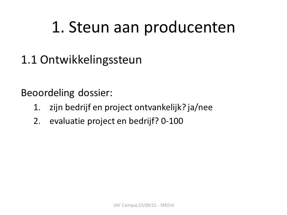 1. Steun aan producenten 1.1 Ontwikkelingssteun Beoordeling dossier: 1.zijn bedrijf en project ontvankelijk? ja/nee 2.evaluatie project en bedrijf? 0-