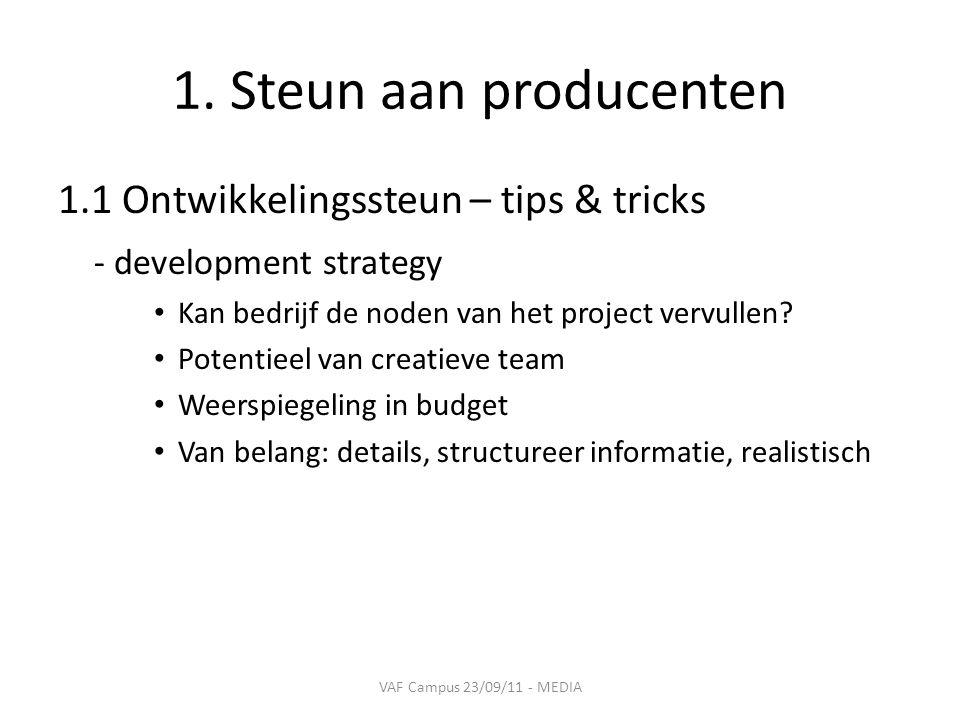 1. Steun aan producenten 1.1 Ontwikkelingssteun – tips & tricks - development strategy • Kan bedrijf de noden van het project vervullen? • Potentieel