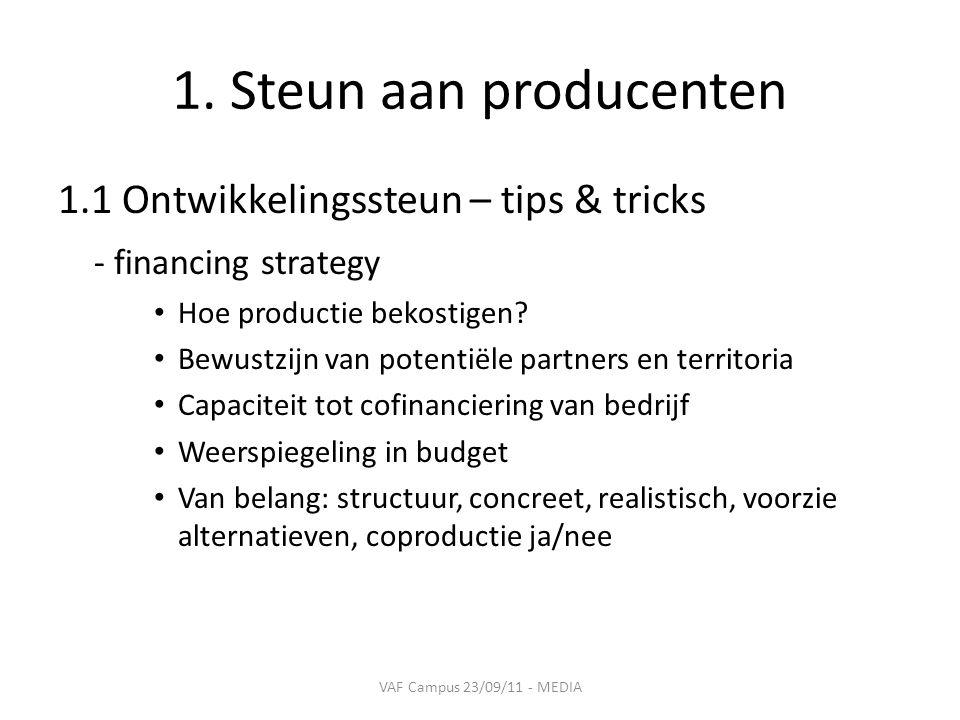1. Steun aan producenten 1.1 Ontwikkelingssteun – tips & tricks - financing strategy • Hoe productie bekostigen? • Bewustzijn van potentiële partners