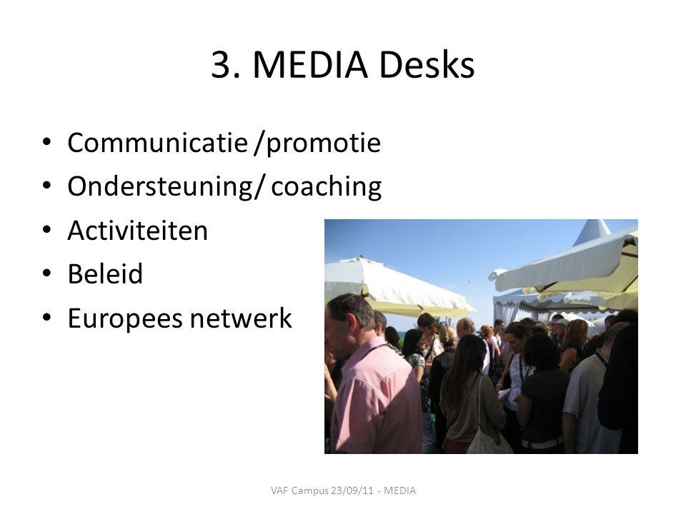 3. MEDIA Desks • Communicatie /promotie • Ondersteuning/ coaching • Activiteiten • Beleid • Europees netwerk VAF Campus 23/09/11 - MEDIA