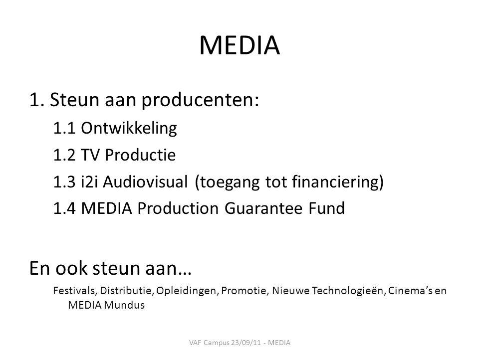 1. Steun aan producenten 1.3 i2i Audiovisual VAF Campus 23/09/11 - MEDIA