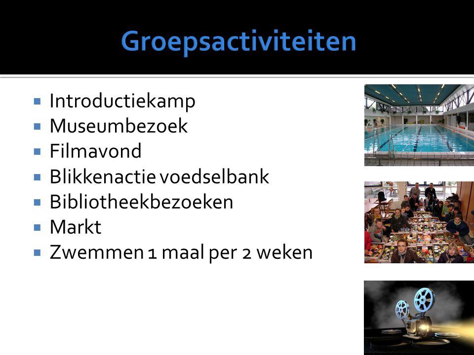  Introductiekamp  Museumbezoek  Filmavond  Blikkenactie voedselbank  Bibliotheekbezoeken  Markt  Zwemmen 1 maal per 2 weken