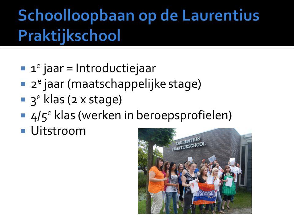  1 e jaar = Introductiejaar  2 e jaar (maatschappelijke stage)  3 e klas (2 x stage)  4/5 e klas (werken in beroepsprofielen)  Uitstroom