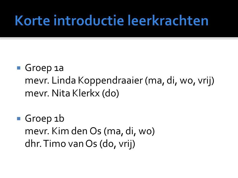  Groep 1a mevr. Linda Koppendraaier (ma, di, wo, vrij) mevr. Nita Klerkx (do)  Groep 1b mevr. Kim den Os (ma, di, wo) dhr. Timo van Os (do, vrij)
