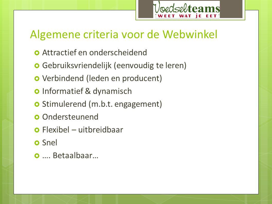 Algemene criteria voor de Webwinkel  Attractief en onderscheidend  Gebruiksvriendelijk (eenvoudig te leren)  Verbindend (leden en producent)  Info