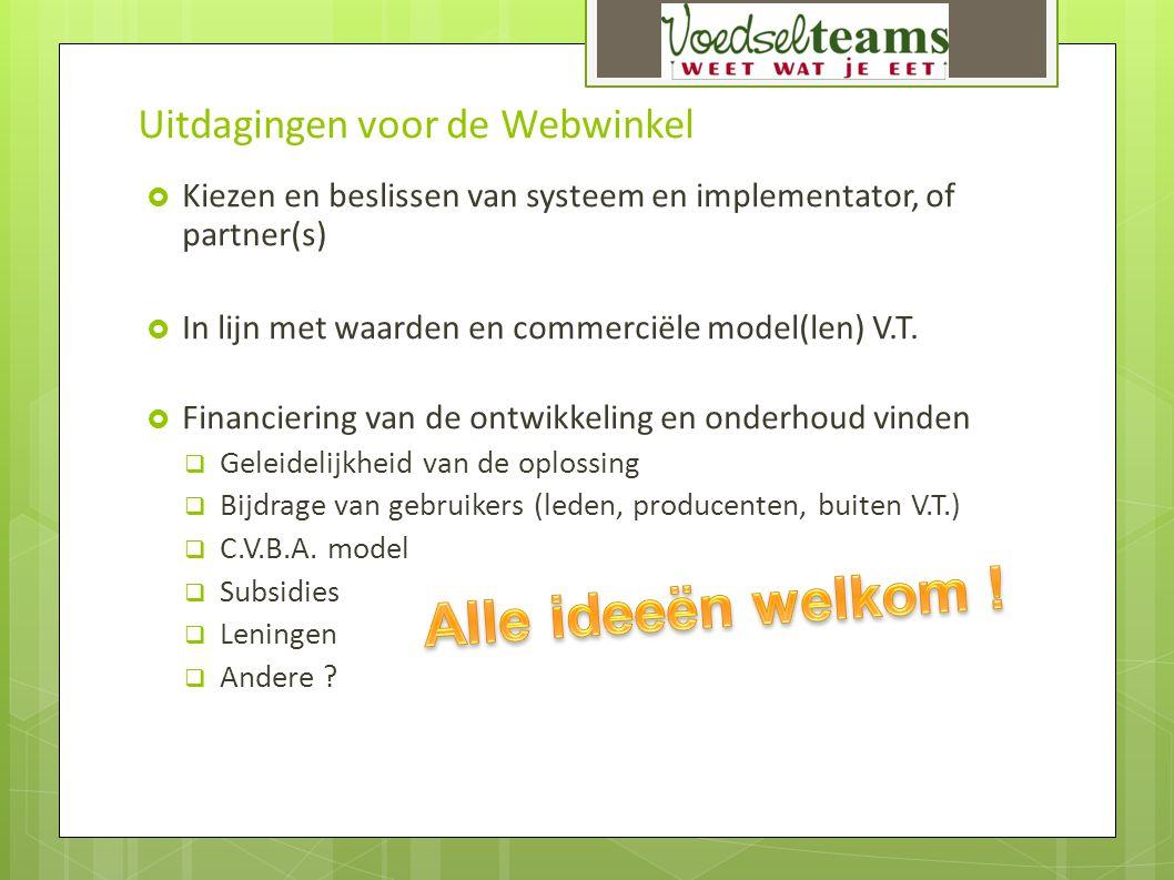 Uitdagingen voor de Webwinkel  Kiezen en beslissen van systeem en implementator, of partner(s)  In lijn met waarden en commerciële model(len) V.T. 