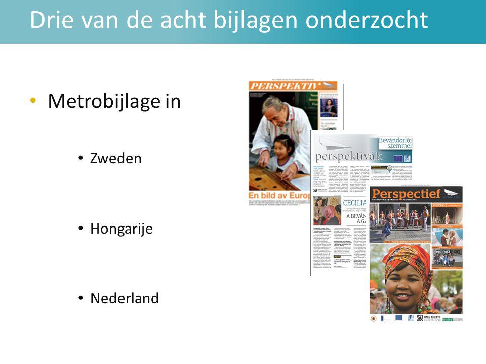 Drie van de acht bijlagen onderzocht • Metrobijlage in • Zweden • Hongarije • Nederland