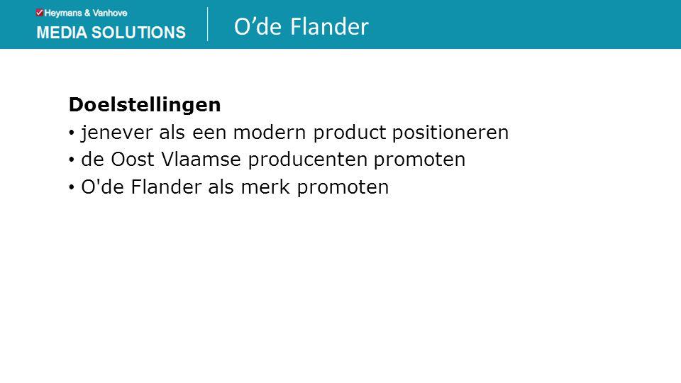 O'de Flander Doelstellingen • jenever als een modern product positioneren • de Oost Vlaamse producenten promoten • O'de Flander als merk promoten