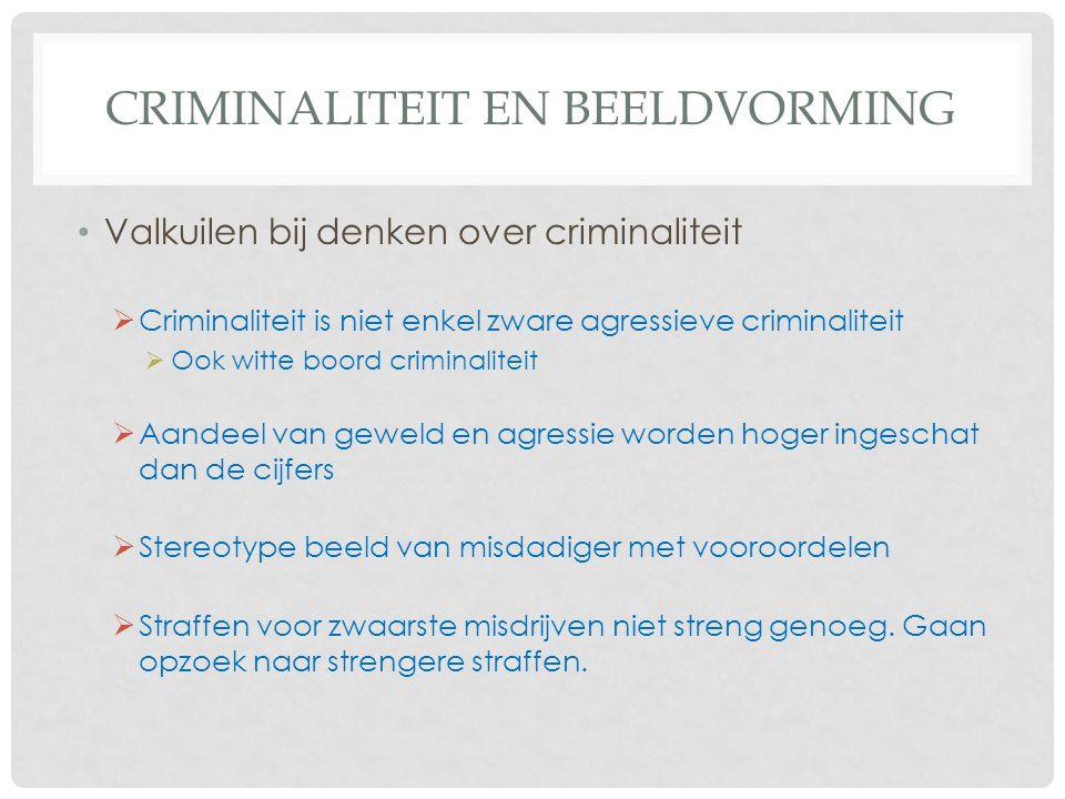 CRIMINALITEIT EN BEELDVORMING • Valkuilen bij denken over criminaliteit  Criminaliteit is niet enkel zware agressieve criminaliteit  Ook witte boord