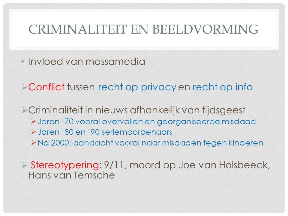 CRIMINALITEIT EN BEELDVORMING • Invloed van massamedia  Conflict tussen recht op privacy en recht op info  Criminaliteit in nieuws afhankelijk van t