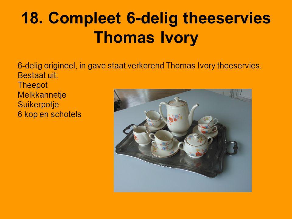 18. Compleet 6-delig theeservies Thomas Ivory 6-delig origineel, in gave staat verkerend Thomas Ivory theeservies. Bestaat uit: Theepot Melkkannetje S