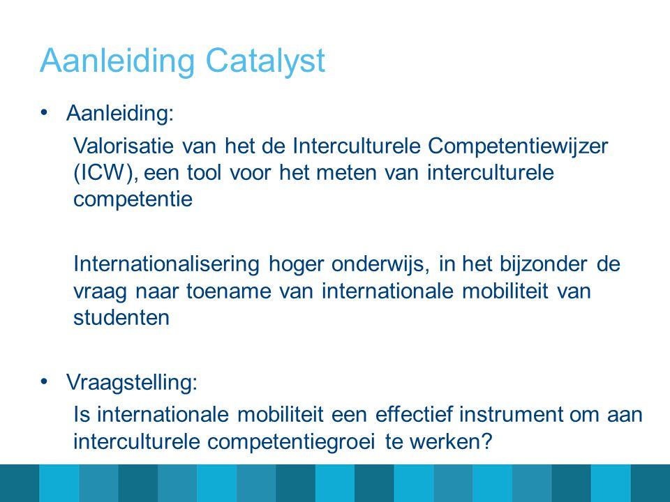 Aanleiding Catalyst • Aanleiding: Valorisatie van het de Interculturele Competentiewijzer (ICW), een tool voor het meten van interculturele competenti