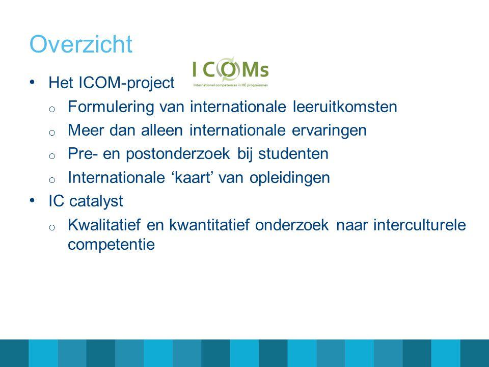 Overzicht • Het ICOM-project o Formulering van internationale leeruitkomsten o Meer dan alleen internationale ervaringen o Pre- en postonderzoek bij studenten o Internationale 'kaart' van opleidingen • IC catalyst o Kwalitatief en kwantitatief onderzoek naar interculturele competentie