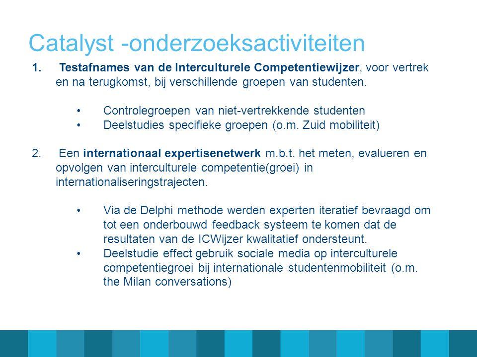 Catalyst -onderzoeksactiviteiten 1.Testafnames van de Interculturele Competentiewijzer, voor vertrek en na terugkomst, bij verschillende groepen van studenten.