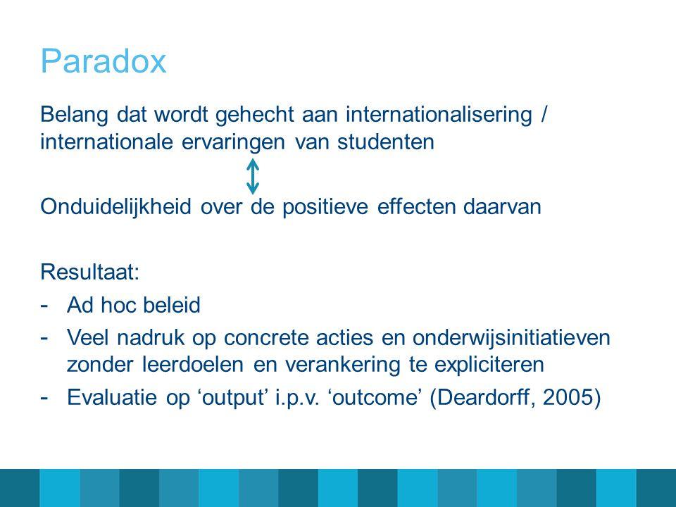 Door beleid beoogde learning outcomes Verschillende accenten bij diverse stakeholders