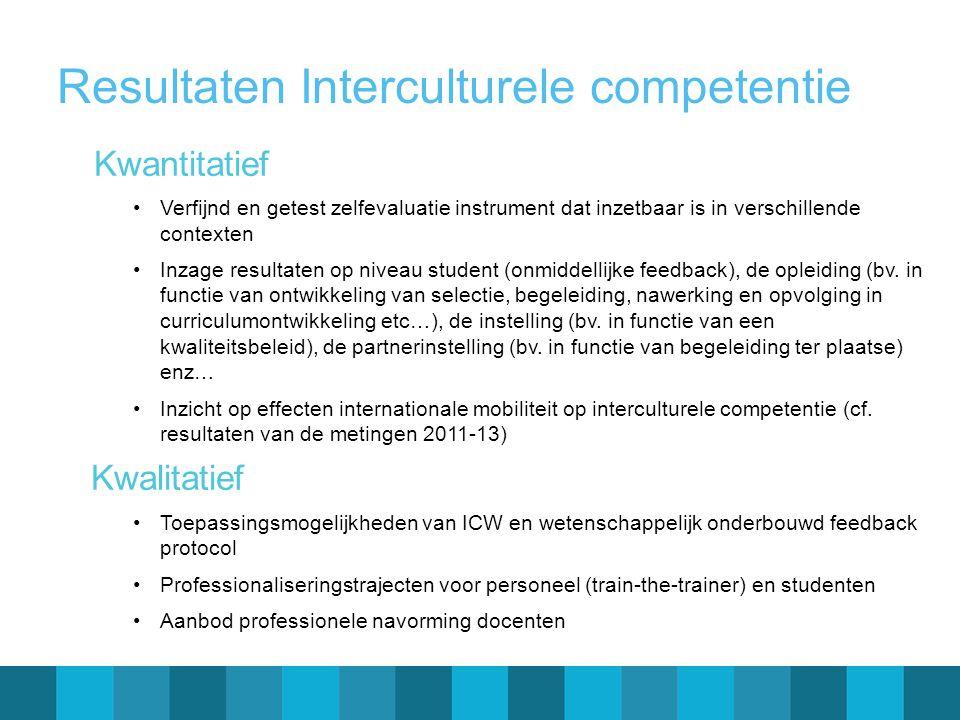 Resultaten Interculturele competentie Kwantitatief •Verfijnd en getest zelfevaluatie instrument dat inzetbaar is in verschillende contexten •Inzage resultaten op niveau student (onmiddellijke feedback), de opleiding (bv.