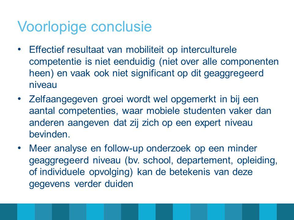 Voorlopige conclusie • Effectief resultaat van mobiliteit op interculturele competentie is niet eenduidig (niet over alle componenten heen) en vaak oo