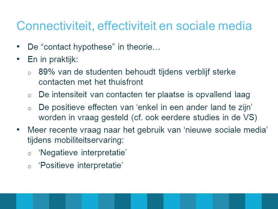 """Connectiviteit, effectiviteit en sociale media • De """"contact hypothese"""" in theorie… • En in praktijk: o 89% van de studenten behoudt tijdens verblijf"""