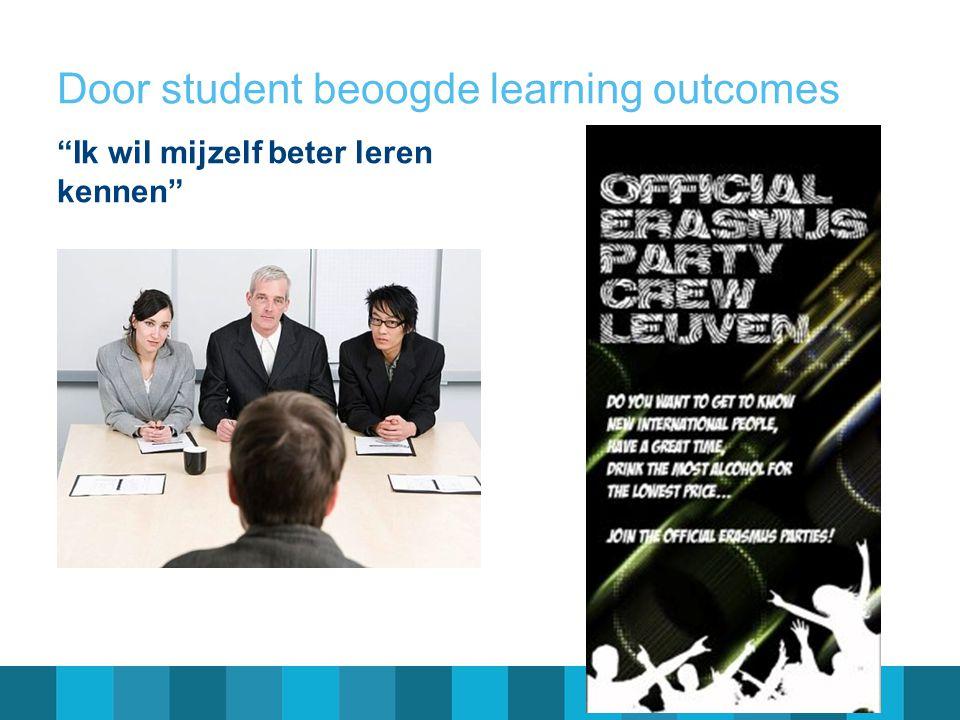 """Door student beoogde learning outcomes """"Ik wil mijzelf beter leren kennen"""""""