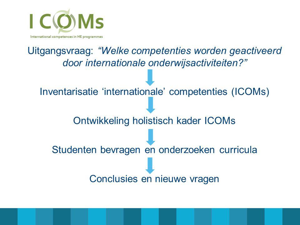 Uitgangsvraag: Welke competenties worden geactiveerd door internationale onderwijsactiviteiten? Inventarisatie 'internationale' competenties (ICOMs) Ontwikkeling holistisch kader ICOMs Studenten bevragen en onderzoeken curricula Conclusies en nieuwe vragen