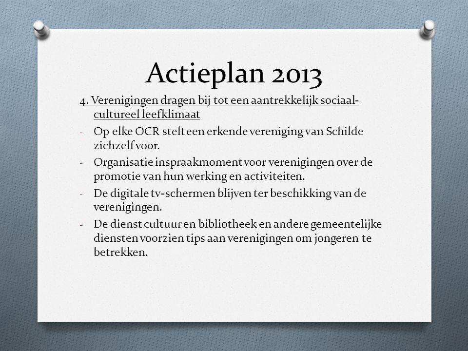 Actieplan 2013 4. Verenigingen dragen bij tot een aantrekkelijk sociaal- cultureel leefklimaat - Op elke OCR stelt een erkende vereniging van Schilde