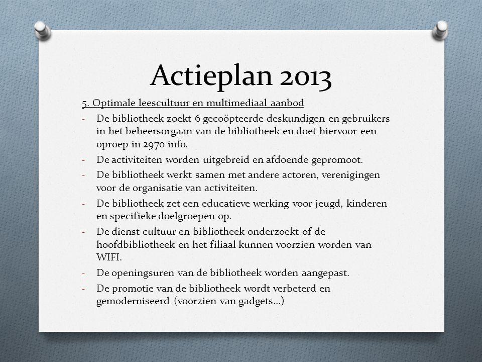 Actieplan 2013 5. Optimale leescultuur en multimediaal aanbod - De bibliotheek zoekt 6 gecoöpteerde deskundigen en gebruikers in het beheersorgaan van