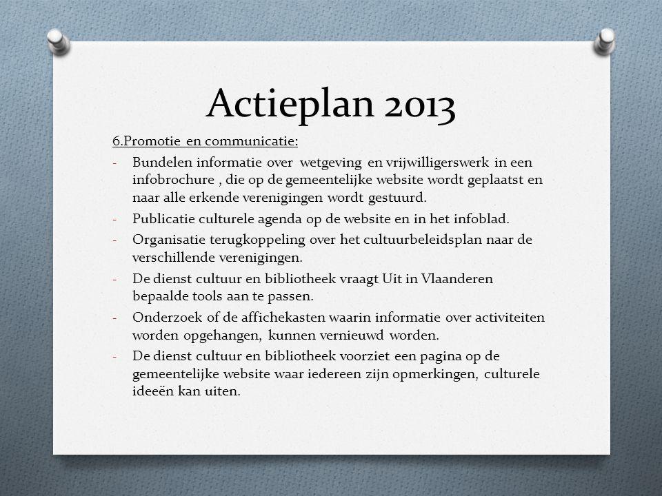 Actieplan 2013 6.Promotie en communicatie: - Bundelen informatie over wetgeving en vrijwilligerswerk in een infobrochure, die op de gemeentelijke webs
