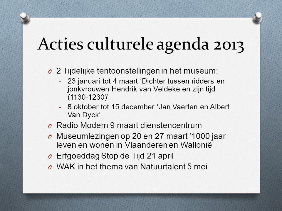 Acties culturele agenda 2013 O 2 Tijdelijke tentoonstellingen in het museum: - 23 januari tot 4 maart 'Dichter tussen ridders en jonkvrouwen Hendrik v