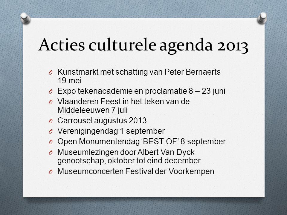 Acties culturele agenda 2013 O Kunstmarkt met schatting van Peter Bernaerts 19 mei O Expo tekenacademie en proclamatie 8 – 23 juni O Vlaanderen Feest