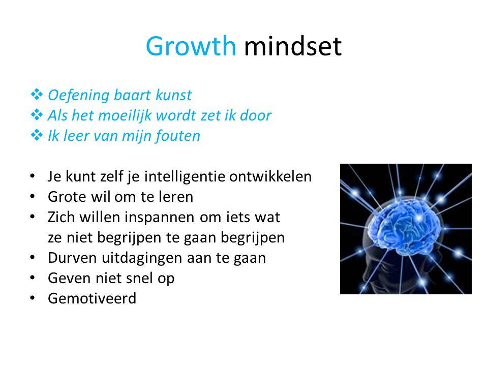 Growth mindset  Oefening baart kunst  Als het moeilijk wordt zet ik door  Ik leer van mijn fouten • Je kunt zelf je intelligentie ontwikkelen • Grote wil om te leren • Zich willen inspannen om iets wat ze niet begrijpen te gaan begrijpen • Durven uitdagingen aan te gaan • Geven niet snel op • Gemotiveerd