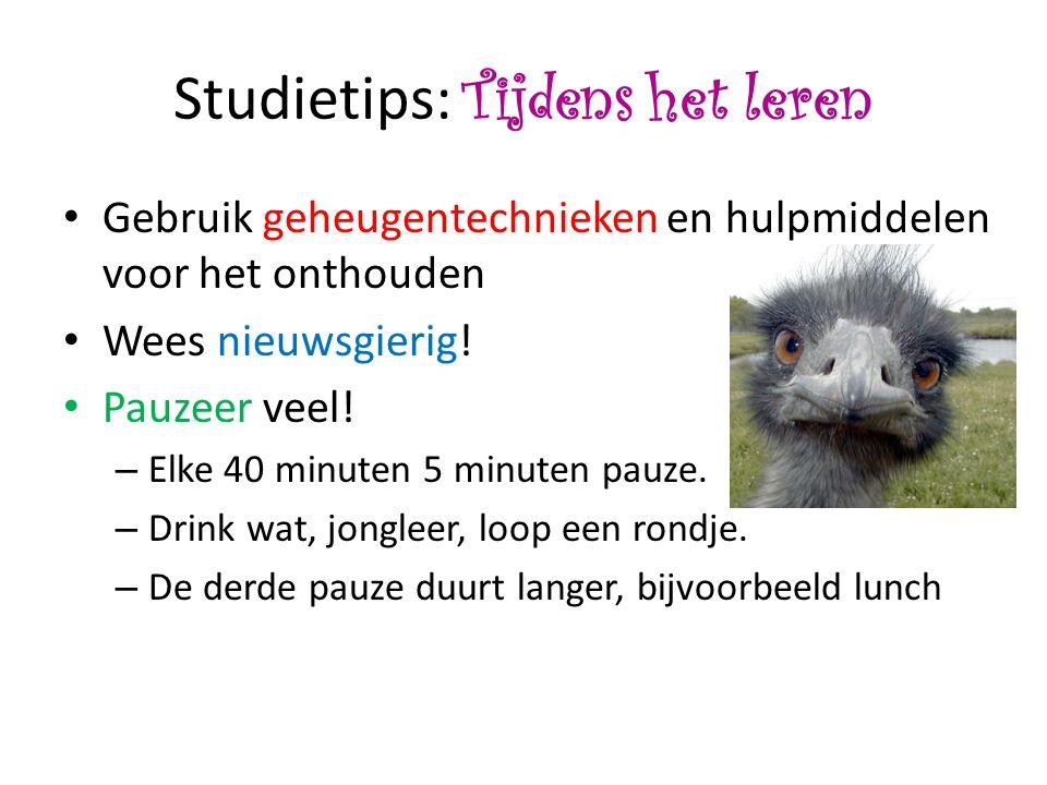 Studietips: Tijdens het leren • Gebruik geheugentechnieken en hulpmiddelen voor het onthouden • Wees nieuwsgierig.
