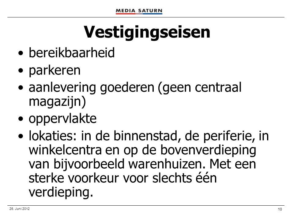 10 26. Juni 2012 Vestigingseisen •bereikbaarheid •parkeren •aanlevering goederen (geen centraal magazijn) •oppervlakte •lokaties: in de binnenstad, de