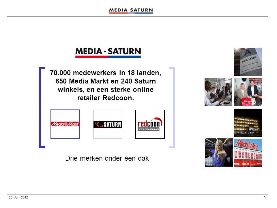 3 26. Juni 2012 Drie merken onder één dak 70.000 medewerkers in 18 landen, 650 Media Markt en 240 Saturn winkels, en een sterke online retailer Redcoo