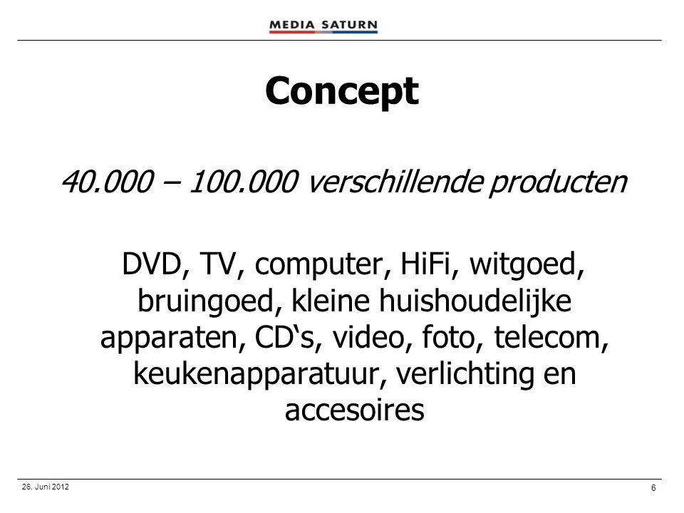 6 Concept 40.000 – 100.000 verschillende producten DVD, TV, computer, HiFi, witgoed, bruingoed, kleine huishoudelijke apparaten, CD's, video, foto, te