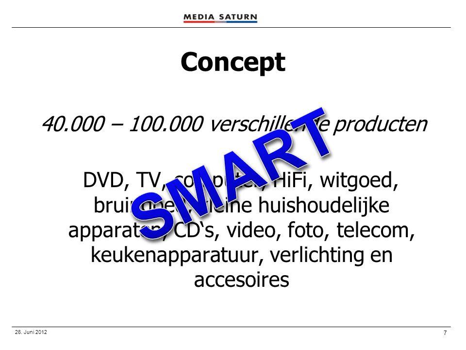 7 26. Juni 2012 Concept 40.000 – 100.000 verschillende producten DVD, TV, computer, HiFi, witgoed, bruingoed, kleine huishoudelijke apparaten, CD's, v