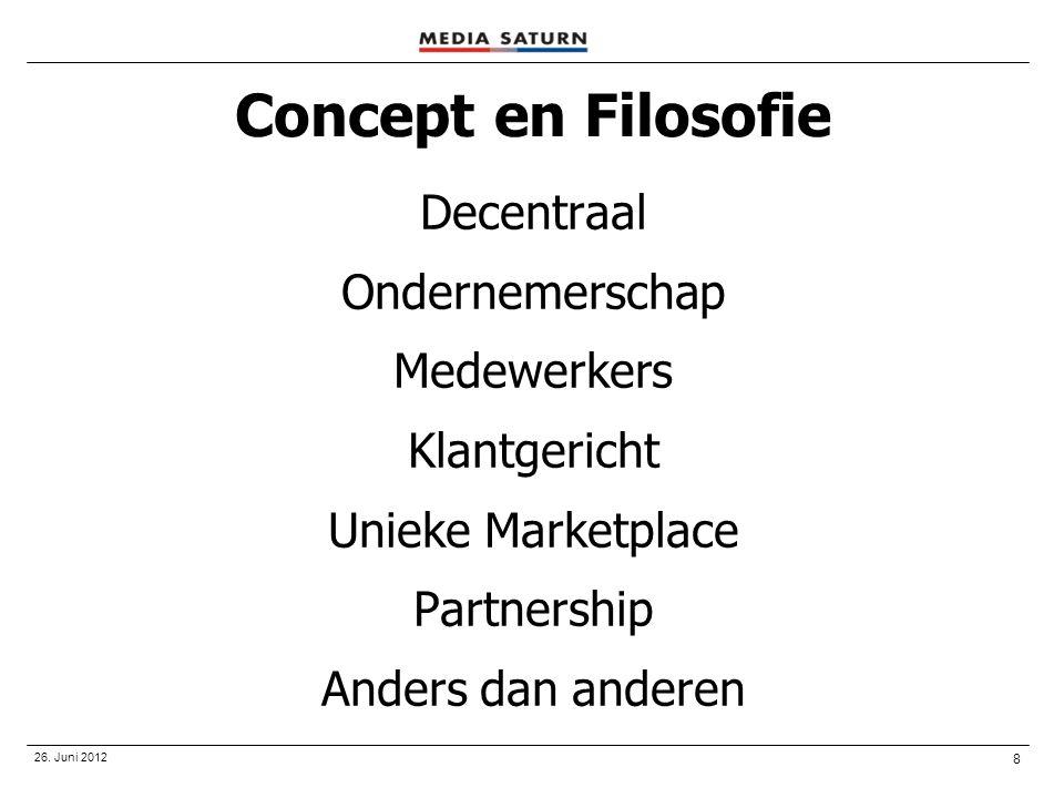 8 26. Juni 2012 Concept en Filosofie Decentraal Ondernemerschap Medewerkers Klantgericht Unieke Marketplace Partnership Anders dan anderen